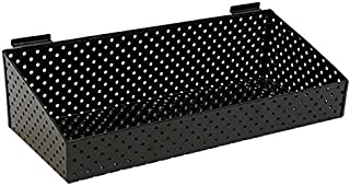 """KC Store Fixtures A02027 Slatwall Basket, 24"""" W x 10"""" D x 3"""" H to 6"""" H Back Perforated Metal, Black (Pack of 2)"""
