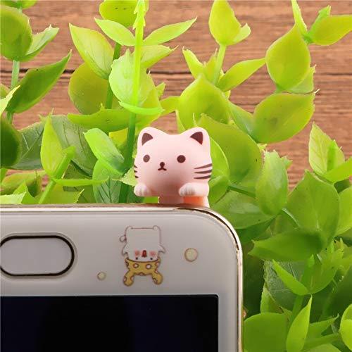 Ltjqsm Flores Rosa Lindo Gato Auricular Jack Plug Polvo 3.5mm Teléfono Inteligente Dibujos Animados Tapón de Polvo (Color : Pink)