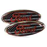 Shenwinfy 2 Pack for 2004-2014 F150 Front Grille Rear Tailgate Emblem, 9' Black Oval American Flag emblem Fits 11-14 Edge, 11-16 Explorer, 06-11 Ranger, 07-14 Expedition