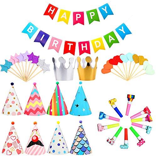 41 Stücke Partyhüte Geburtstag Set, Partyhüte Kindergeburtstag Set, Geburtstagsfeier Dekorationen, 8 Hüte Mit Pom Poms Und 2pcs Geburtstag Krone, Happy Birthday Spruchband, Cake Topper Dekoration
