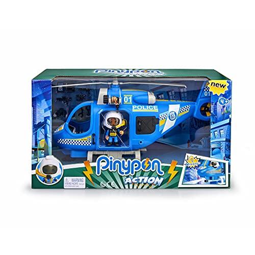 Pinypon Action - Helicóptero de policía con 1 Figura y Accesorios, para niños...