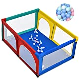 COSTWAY Baby Playpen, Large Infants Activity Center with 50 Balls, Breathable Mesh and Zipper Door, Toddlers Safety Playard for Indoor & Outdoor