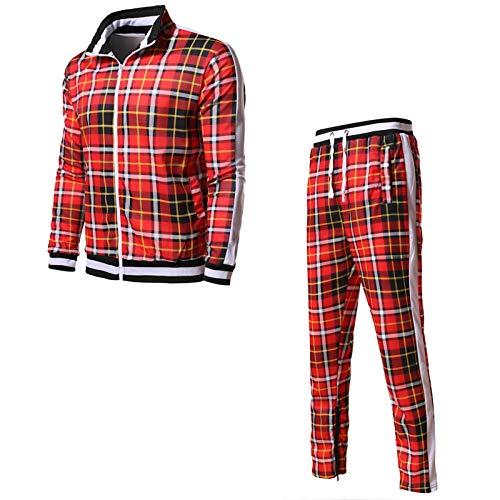 Mens Frühling Herbst Plaid Sportswear Set, Reißverschluss Trainingsanzüge Anzug Casual Two Piece Set Stand Up Kragen Gerippte Manschette Und Saum red-L