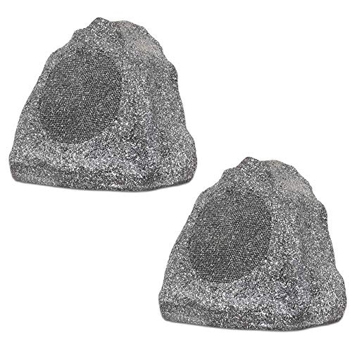 Save %8 Now! Theater Solutions 2R6G Outdoor Granite 6.5 Rock 2 Speaker Set for Deck Pool Spa Yard G...