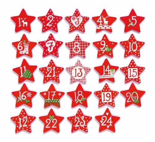 Glorex 61710121 - Holzsterne für Weihnachtskalender, Adventskalender mit Zahlen 1 bis 24 - Rot