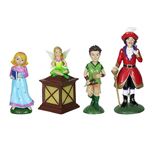 """Exhart Neverland Mini Figurine Set – 4 Piece Mini Statue Garden Set Featuring Peter Pan, Tinkerbell, Wendy and Captain Hook – Decorative Resin Statues for a Fairy Garden 2"""" L x 2"""" W x 5"""" H"""