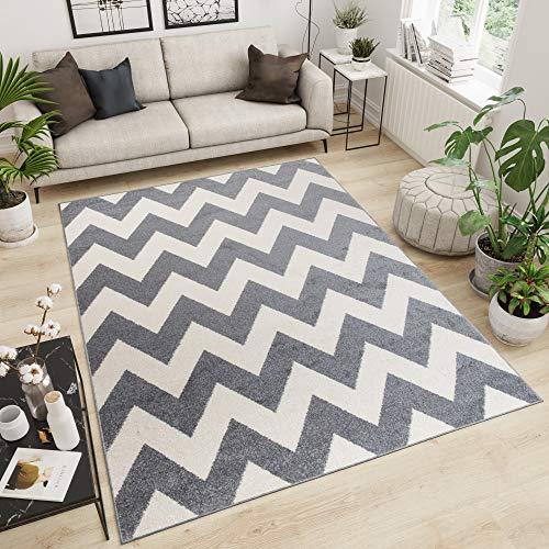 Tapiso MAROKO Teppich Modern Kurzflor Designer Geometrisch Zick Zack Streifen Linien Muster Creme Grau Wohnzimmer ÖKOTEX 140 x 190 cm