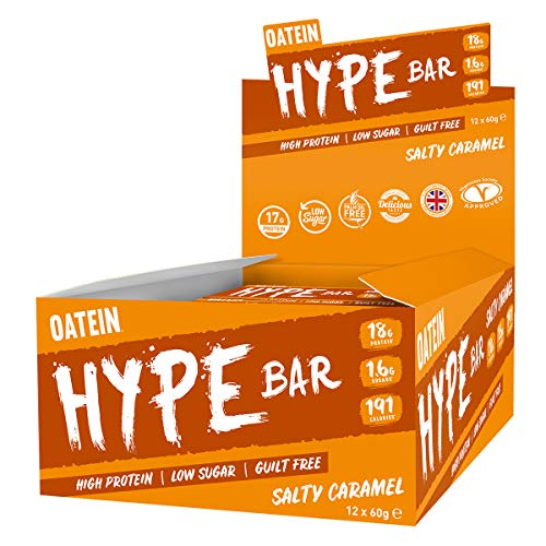 Oatein Hype 60g Protein Bar, High Protein, Low Sugar, Guilt Free, Salty Caramel bar with 18g Protein, 1.6g Sugar and only 199 Calories