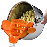 Kitchen Gizmo Snap N Strain Strainer, Clip On Silicone Colander, Fits all Pots and Bowls - Orange
