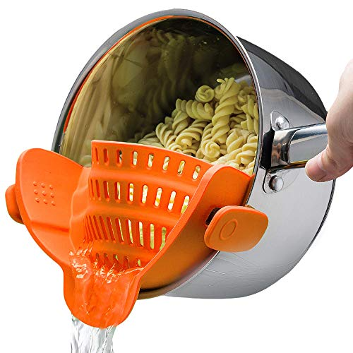 Kitchen Gizmo Snap N Strain Strainer - Orange | Patented Clip On Silicone Colander | Fits all Pots and Bowls