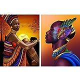 Reofrey 2 Piezas 5D Diamond Painting Pintura Diamante Faldas Africano Hombres Mujeres Arte Bricolaje, Punto Cruz Imitación Bordado Pegatinas de Pared Decoración de sala 30x40cm