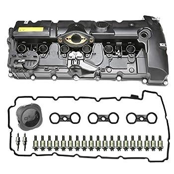 N52 Engine Valve Cover Kit with Oil Cap & Gaskets & Spark Plug Seals & Bolts Compatible with 2007-2013 BMW E70 E82 E88 E90 E91 328i 328xi 528i 528xi X3 X5 Z4 3.0L N51 Part# 11127552281