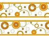 wandmotiv24 Bordüre Bubbles 260cm Breite - Vlies Borte Tapetenbordüre Bordüren Borde Wandborde Blasen orange Muster M0008