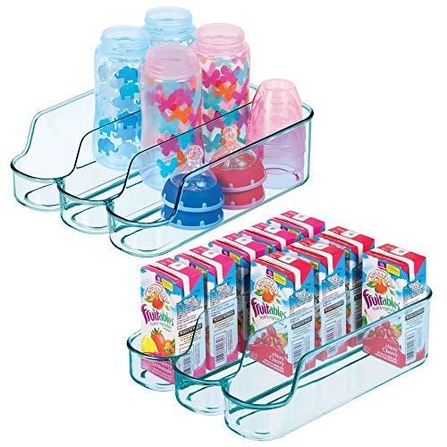 mDesign - Babyvoeding organizer - opbergbox/keukenorganizer - voor babyvoeding/babyproducten - 3 compartimenten/open/gescheiden opslag - zeeblauw - blauwe tint