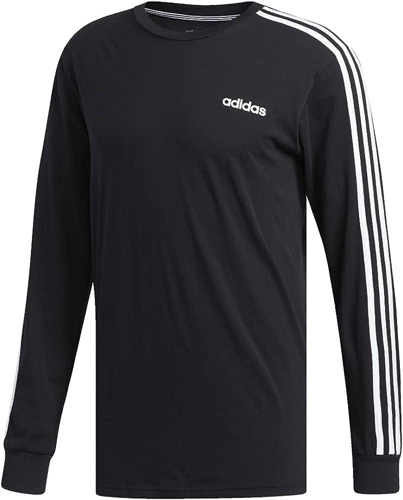 adidas Mens Athletic Sport 3-Stripes Cotton Long-Sleeve Tee T-Shirt Shirt Black/White at  Men's Clothing store