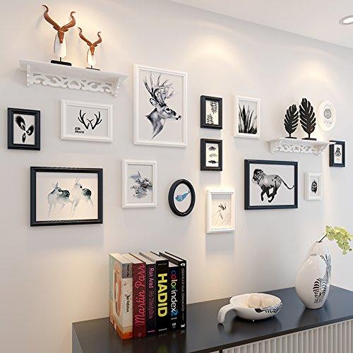 Scheidingswand van hout gesneden fotolijstjes Creative Photo wall fotolijsten foto wandklok combinatietabel Hu Original White