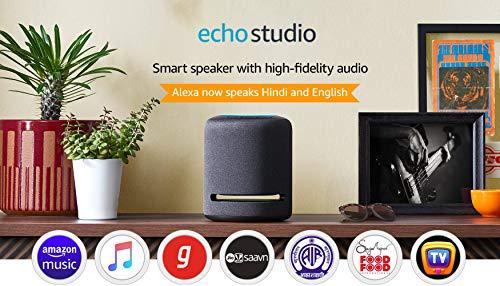 Echo Studio - Smart speaker with high-fidelity audio, Dolby Atmos and Alexa (Black)