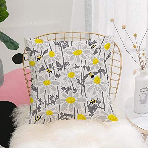 Purer Weicher Kissenbezug Kissenhülle Set,Graue Gänseblümchenblüten mit Bienen im Frühling Honigblüten,Sofakissen Lendenkissen Wurfkissenbezug mit Verstecktem Reißverschluss Schlafzimmer Auto 45x45cm