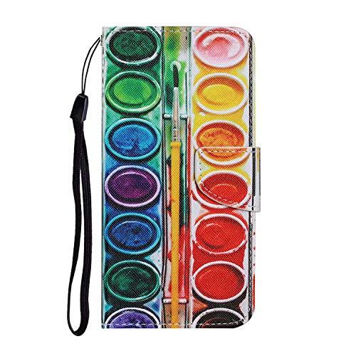 Miagon per iPhone 6 6S Custodia,Colorato Modello Pieghevole Flip Protettiva Portafoglio PU Pelle Case Cover con Schede Slot Cinghia,Ombretto