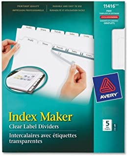 Avery 11416 Clear Label Index Maker Dividers, 8.5 x 11, White, 5 Tabs/Set