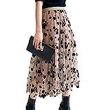 Falda de tul para mujer, diseño de flores Color caqui. Talla única