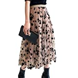 Womens Tulle Skirts High Waist Layered Floral Printed A-Line Maxi Hem Skirts Mesh Midi Skirt (Khaki, One Size)
