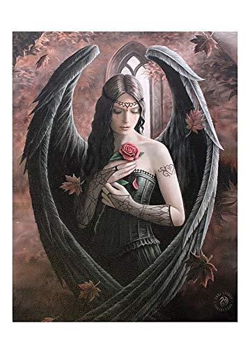 Fantastisches Anne Stokes Design - Angel Rose - Eine gotische Engel Fee hält eine rose - Leinwand Bild auf Bild-Wand-Plakette / Wand Kunst