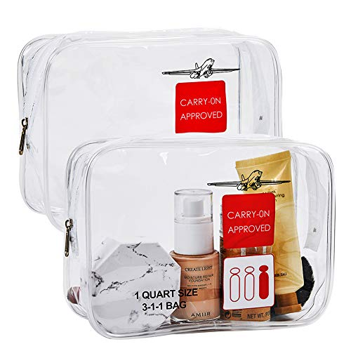 2pcs TSA Approved Toiletry Bag,Travel Carry On Airport Airline Compliant Bag, Liquids Rules Kit 3-1-1 Clear Cosmetic Bag for Men and Women