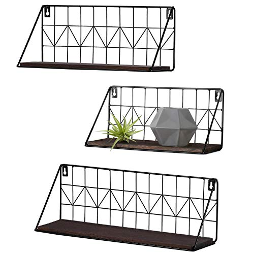 Mkono Set of 3 Wall Floating Shelves Rustic Modern Wood Wall Storage Shelves with Metal Wire Display Shelf for Bedroom Living Room Bathroom Kitchen Office, Brown