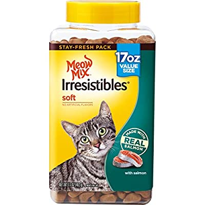 Meow Mix Irresistibles Soft Cat Treats, Salmon, 17 Ounces (Pack of 4)