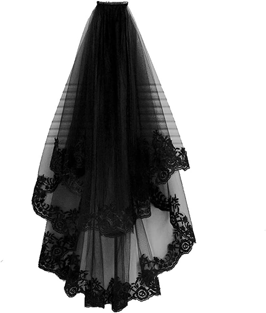 FairyCos Women Long Black Floral Lace Veil Bridal Wedding Veils with Comb