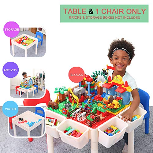 Bheddi Kids Table and Chair Set, 4 in 1 Toddler Table and Chair Sets, Kids Activity Table Blocks Craft Play Table Fits Educational Playing Activities (Bricks Not Included) (Table & 1 Chair)