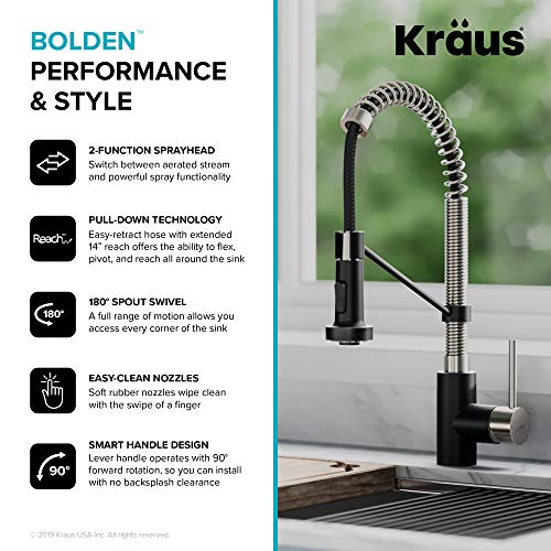 Kraus KPF-1610SSMB Bolden 18-Inch Commercial Kitchen Faucet with Dual Function Pull-Down Sprayhead in All-Brite Finish, Stainless Steel/Matte Black