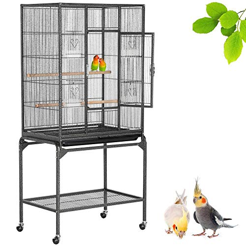Yaheetech Vogelvoliere Vogelkäfig Voliere Vogelhaus mit Rollen für Nymphensittiche, Papageien