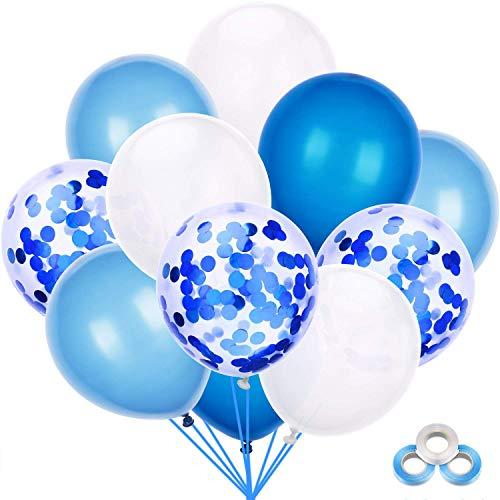 Mingco 40 Pezzi Palloncini Azzurri, Palloncini coriandoli, Bianchi e Blu Palloncini, Party Balloon per Matrimonio Compleanno,Baby Shower Festa, Natale Decorazioni per Feste.
