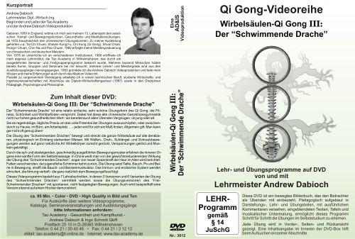 Wirbelsäulen-Qi Gong III: Der