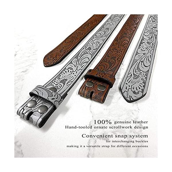 Western Floral Engraved Embossed Leather Belt 4