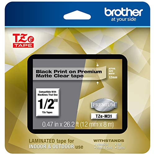 """Brother P-touch TZe-M31 Black Print on Premium Matte Clear Laminated Tape 12mm (0.47"""") wide x 8m (26.2') long"""