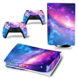 Decal Skin for Ps5 Disk, Whole Body Vinyl Sticker Cover for Playstation 5 Console and Controller(PS5 disc Edition, Pink Sky)