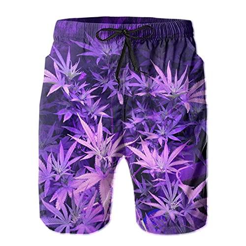 QUEMIN Pantalones Cortos de Playa de Secado rápido para Hombre de Moda de Hoja de Marihuana de Hierba Morada para Hombre