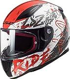 Casco de motocicleta LS2 para adultos, cara completa, 2020 FF353, Rapid Naughty Motorbike Touring, tapa XS-3XL, color blanco y rojo, FF353, blanco y rojo, medium