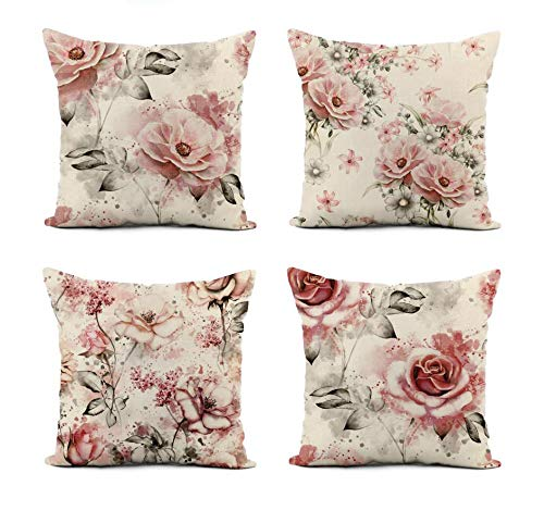 Awowee Set of 4 Linen Throw Pillow Cover Pink Flowers and Leaves on Watercolor Floral Pattern Rose 20x20 Inches Home Decor Square Flax Pillowcase Cushion Cover for Couch Sofa