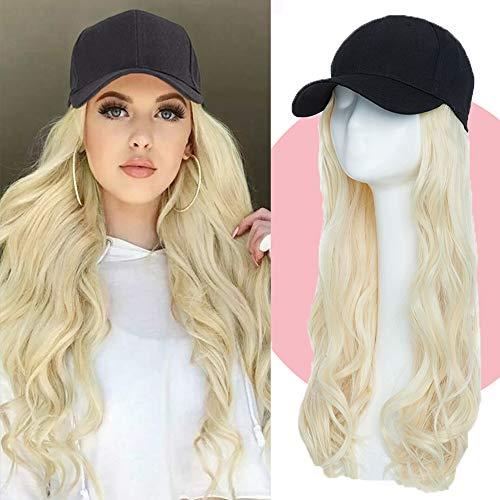 Extensions wie Echthaar Hair Extension Haarteil mit Schwarz Baseball Cap Body Wave Haarteil Günstig Haarverlängerung Gewellt 16