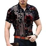 Men Club Party DJ Prom Shirt Short Sleeve Chemise Homme Transparent Flower Velvet Shirt Men See Through Lace Shirt