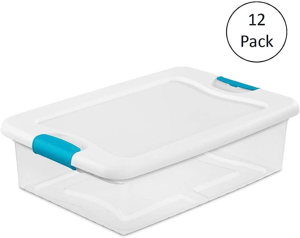 Sterilite 1496 32 Quart Clear Latching Stacking Storage Box 12 Pack