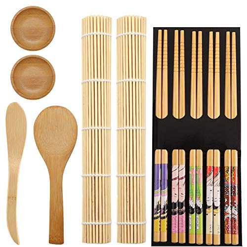 Friusate - Set para sushi, 11 unidades, para hacer sushi, bambú, para principiantes, 2 esterillas de rollo, 5 pares de palillos, 1 salero de viaje, 1 remo y 2 bandejas