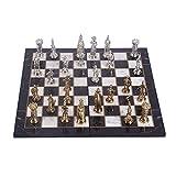 GiftHome Juego de ajedrez de metal del ejército británico medieval para adultos, piezas hechas a mano y diseño de mármol, tablero de ajedrez de madera King 3.5 inc