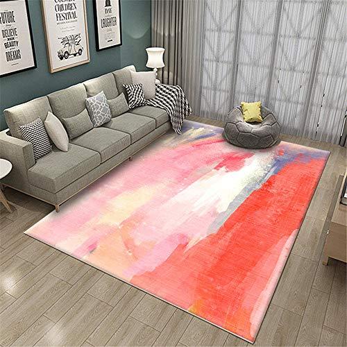 Kunsen alfombras para Comedor Decoracion Bebe habitacion La habitación roja Rectangular Decorativa Sala de Estar se Puede Lavar Camas Modernas 60x90cm 1ft 11.6' X2ft 11.4'