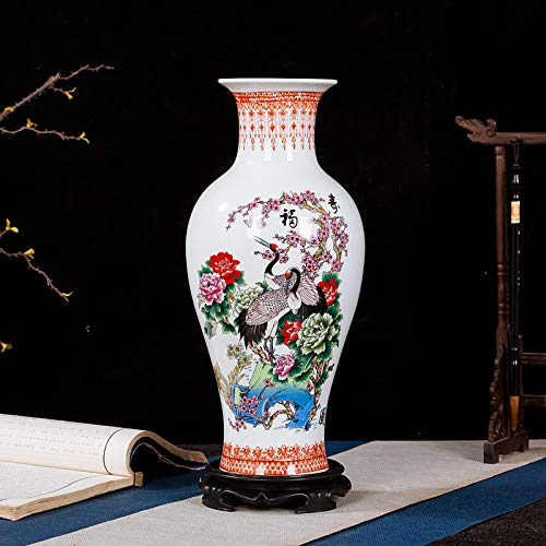 mangege Jingdezhen Vaso di Ceramica Decorazione Cinese Composizione Floreale Un Paio di Grandi Bottiglie di Porcellana semplici Decorazioni Artigianali per la casa 19 * 47 cm 17