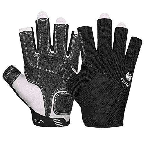 FitsT4 Sailing Gloves 3/4 Finger Padded Palm - Mesh Back for Comfort - Perfect for Sailing, Paddling, Canoeing, Kayaking, SUP for Men Women & Kids Black L